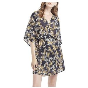 Printed V-Neck Kimono-Style Mini Dress